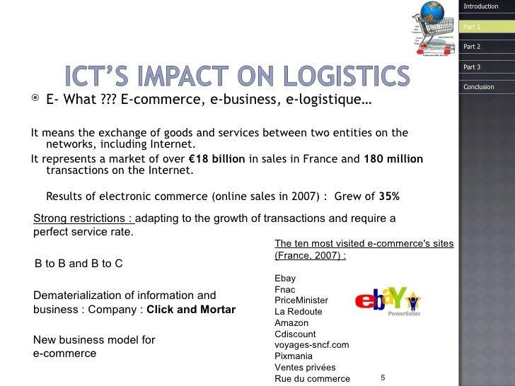 <ul><li>E- What ??? E-commerce, e-business, e-logistique… </li></ul><ul><li>It means the exchange of goods and services be...