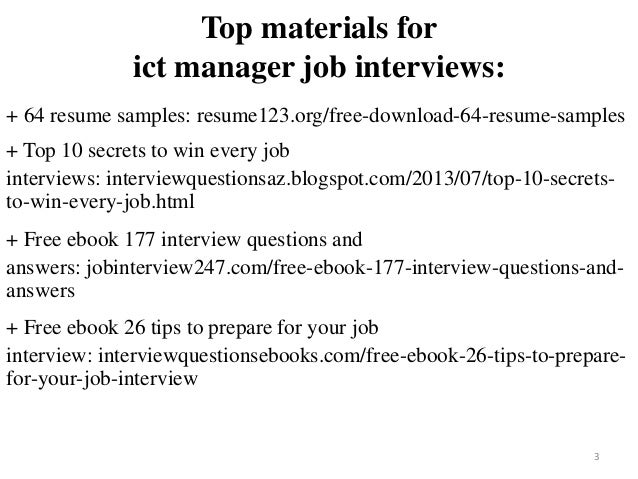 Ict Manager Resume Sample Pdf Ebook