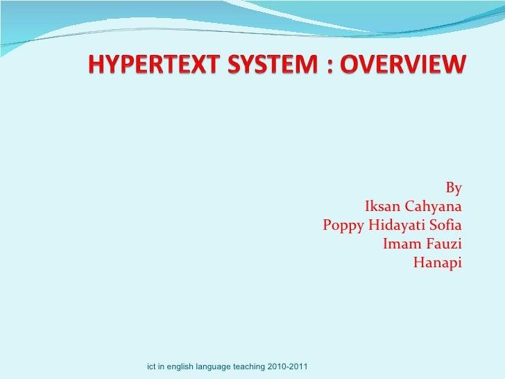 By Iksan Cahyana Poppy Hidayati Sofia Imam Fauzi Hanapi ict in english language teaching 2010-2011