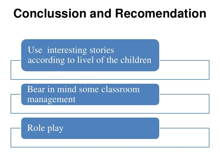 Conclussion and Recomendation  Use interesting stories  according to livel of the children  Bear in mind some classroom  m...