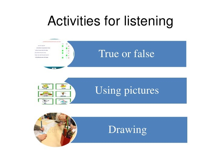 Activities for listening         True or false         Using pictures           Drawing