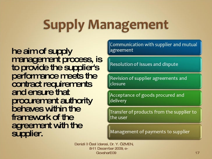 <ul><li>The aim of supply management process, is to provide the supplier's performance meets the contract requirements  an...