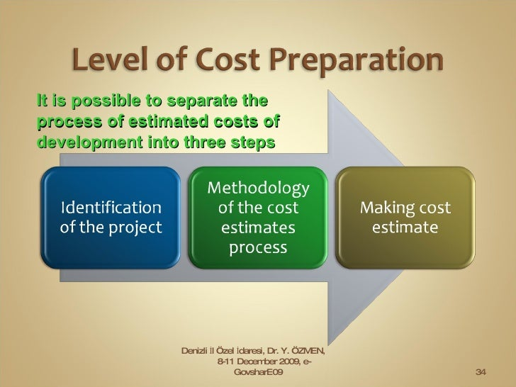 It is possible to separate the process of estimated costs of development into three steps Denizli İl Özel İdaresi, Dr. Y. ...