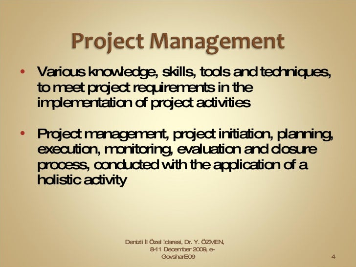 <ul><li>Various knowledge, skills, tools and techniques, to meet project requirements in the implementation of project act...