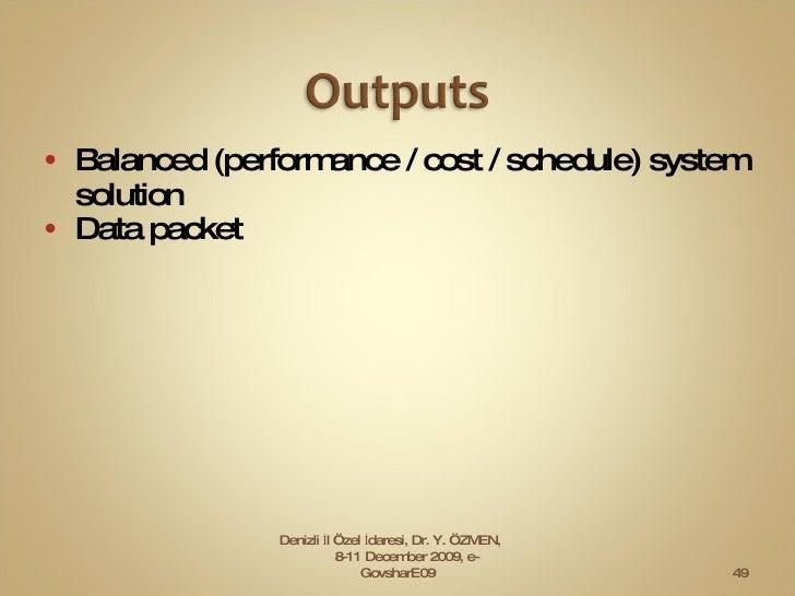 <ul><li>Balanced (performance / cost / schedule) system solution  </li></ul><ul><li>Data packet  </li></ul>Denizli İl Özel...