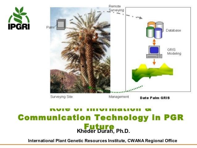 Role of Information &Communication Technology in PGR             Future           Kheder Durah, Ph.D. International Plant ...