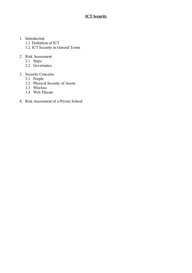 ICT Security1. Introduction   1.1 Definition of ICT   1.2 ICT Security in General Terms2. Risk Assessment   2.1 Steps   2....