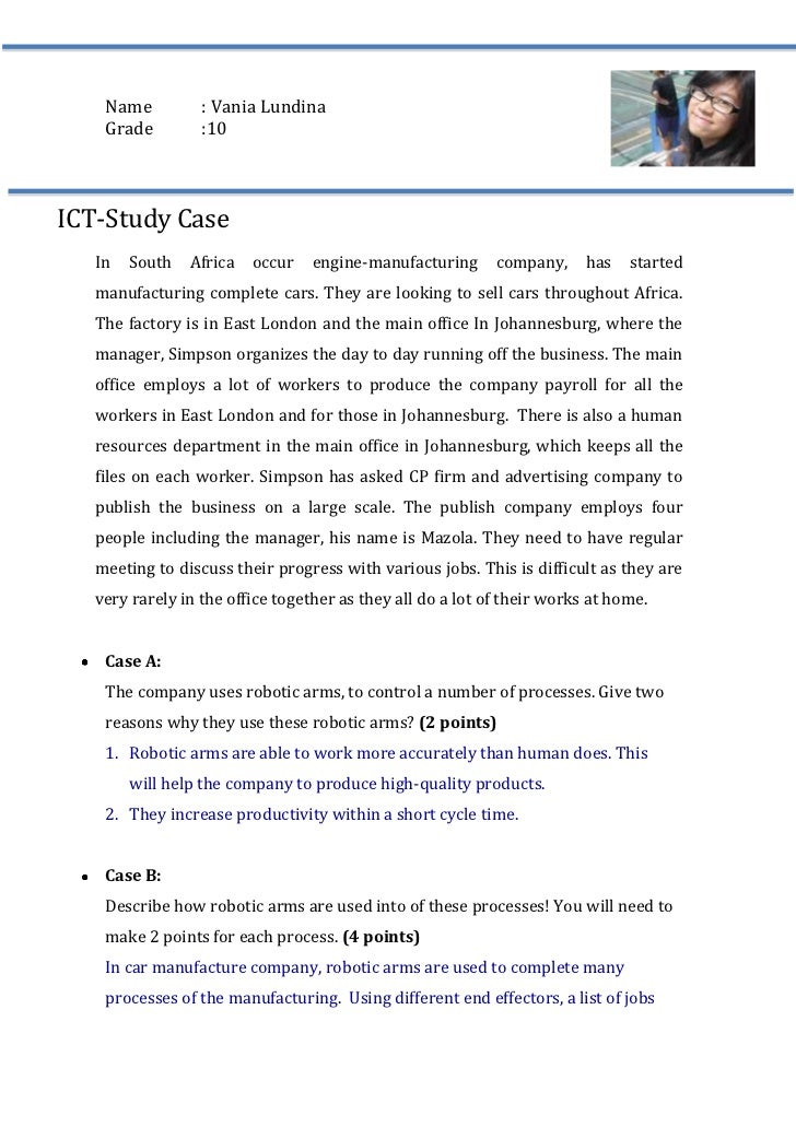 5257800-231775Name: Vania Lundina<br />Grade:10<br />ICT-Study Case<br />In South Africa occur engine-manufacturing compan...