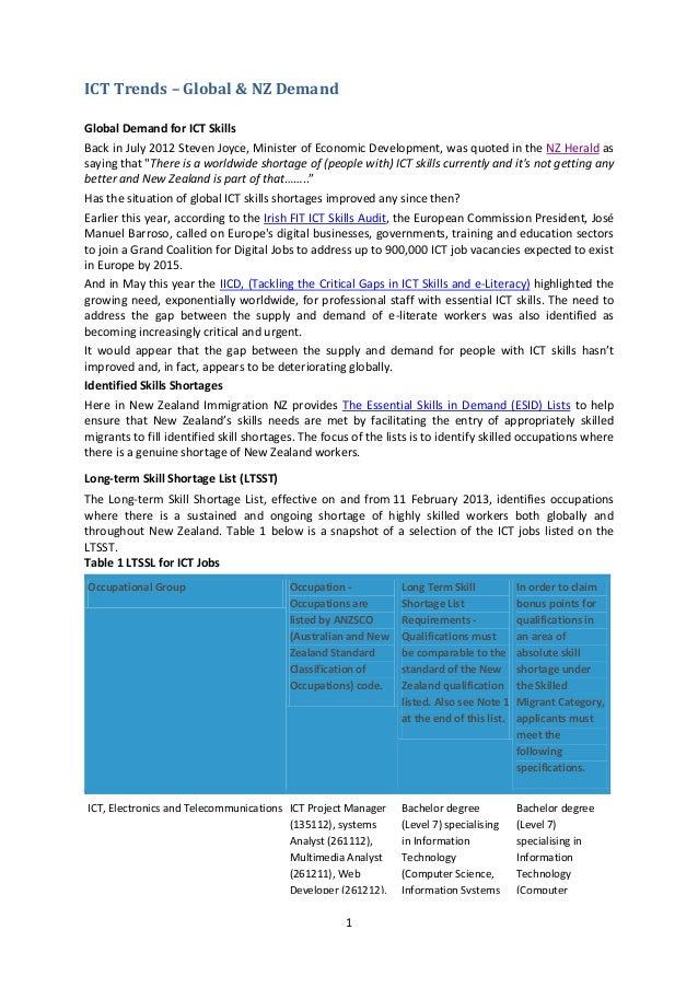 ICT Trends – Global & NZ Demand Global Demand for ICT Skills Back in July 2012 Steven Joyce, Minister of Economic Developm...