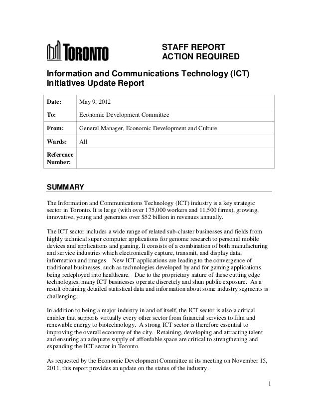STAFF REPORT                                               ACTION REQUIREDInformation and Communications Technology (ICT)I...