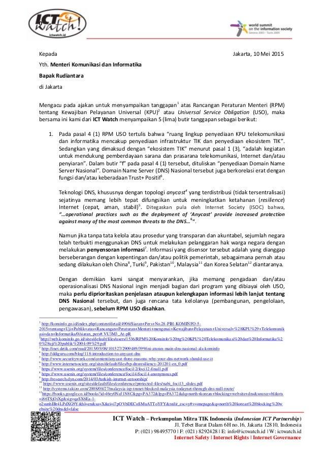 0 ICT Watch – Perkumpulan Mitra TIK Indonesia (Indonesian ICT Partnership) Jl. Tebet Barat Dalam 6H no.16, Jakarta 12810, ...