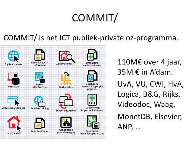 COMMIT/COMMIT/ is het ICT publiek-private oz-programma.                               110M€ over 4 jaar,                  ...
