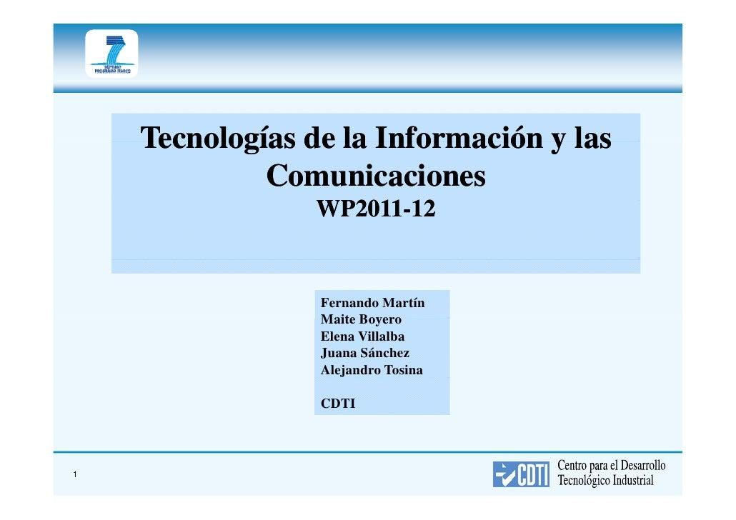 Tecnologías de la Información y las              Comunicaciones                  WP2011-                  WP2011-12       ...