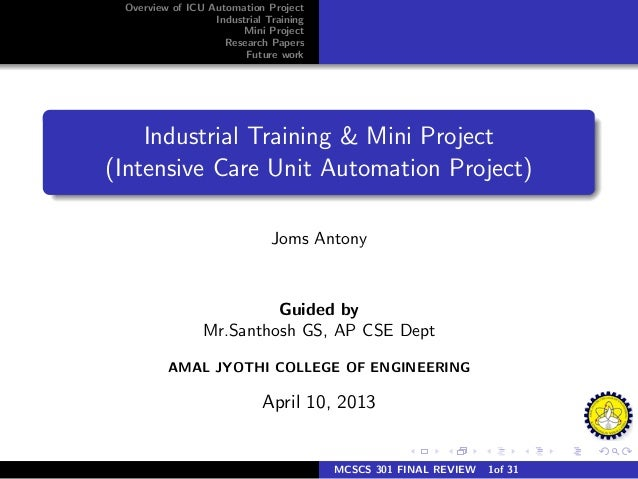 Overview of ICU Automation Project                  Industrial Training                       Mini Project                ...