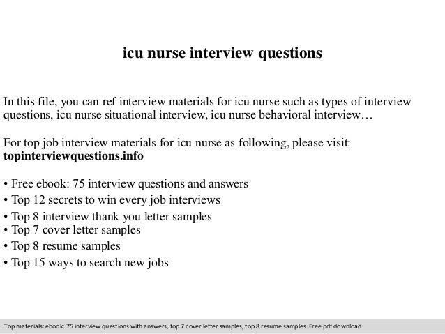 icu nurse interview questions in this file you can ref interview materials for icu nurse