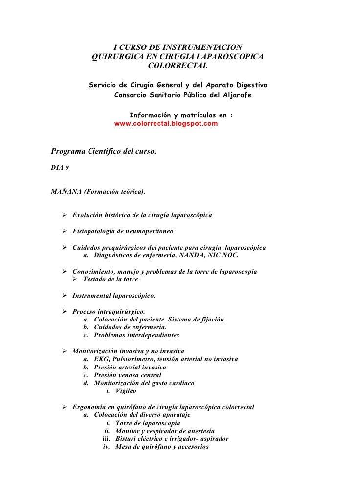 I CURSO DE INSTRUMENT ACION             QUIRURGICA EN CIRUGIA LAPAROSCOPICA                         COLORRECTAL           ...