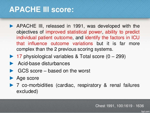 Apache ii intensive care medicine score.