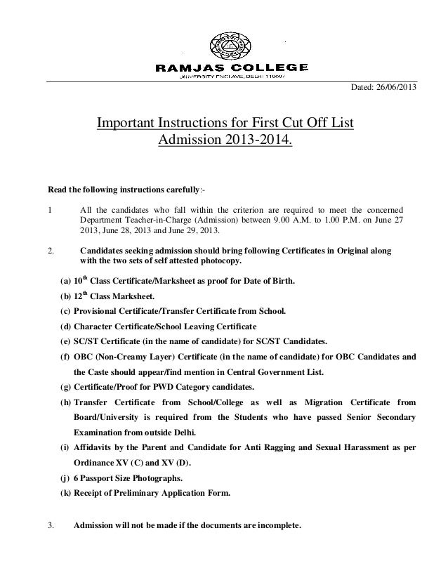 Ramjas College Instructions for 1st Cut Off - 2013 14