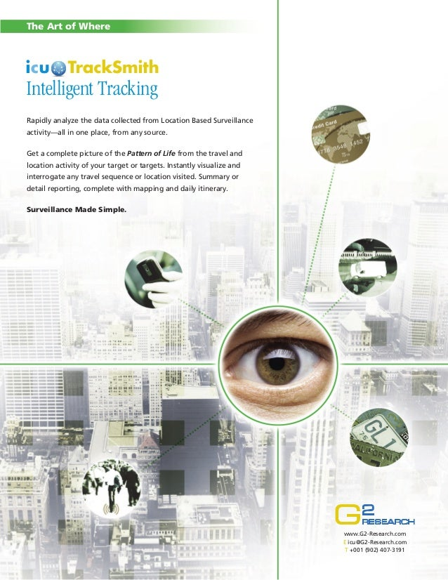 The Art of Where  Intelligent Tracking Rapidly analyze the data collected from Location Based Surveillance activity—all in...