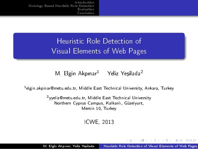 Introduction Ontology Based Heuristic Role Detection Evaluation Conclusion Heuristic Role Detection of Visual Elements of ...