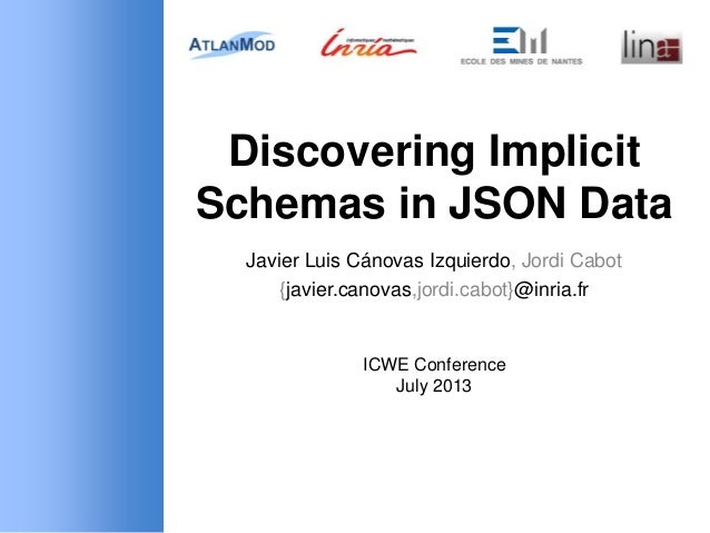 Discovering Implicit Schemas in JSON Data Javier Luis Cánovas Izquierdo, Jordi Cabot {javier.canovas,jordi.cabot}@inria.fr...