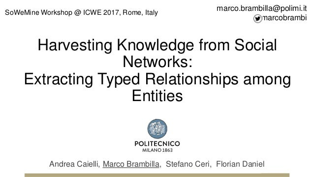 Harvesting Knowledge from Social Networks: Extracting Typed Relationships among Entities Andrea Caielli, Marco Brambilla, ...