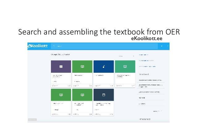 SearchandassemblingthetextbookfromOER eKoolikott.ee