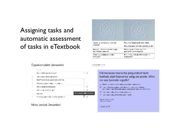 Assigning tasks and automatic assessment of tasks in eTextbook
