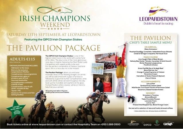 Irish Champions Weekend - Leopardstown Pavilion Sample Menu