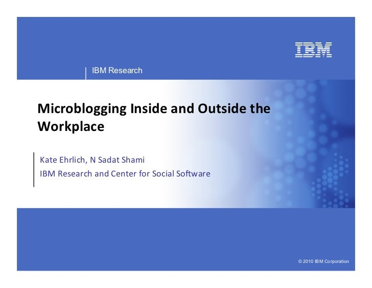 Business Unit or Product Name                  IBM Research     Microblogging