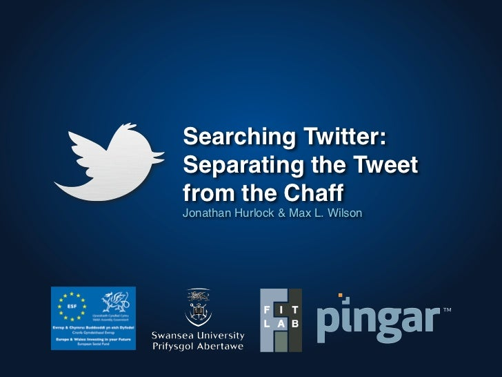 Searching Twitter:Separating the Tweetfrom the ChaffJonathan Hurlock & Max L. Wilson