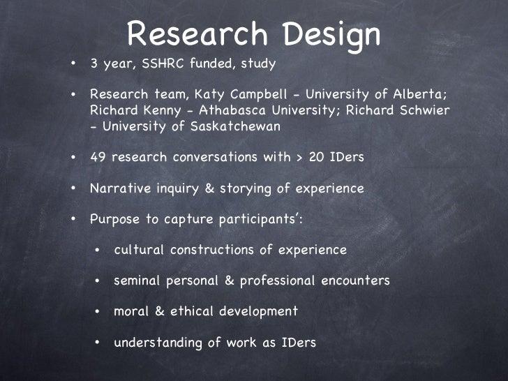 Research Design <ul><li>3 year, SSHRC funded, study </li></ul><ul><li>Research team, Katy Campbell - University of Alberta...
