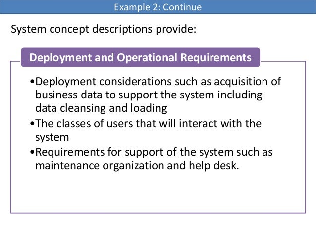 System concept descriptions provide:Example 2: Continue•Deployment considerations such as acquisition ofbusiness data to s...