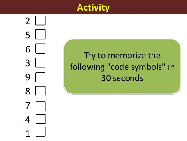 """Activity256398741Try to memorize thefollowing """"code symbols"""" in30 seconds"""