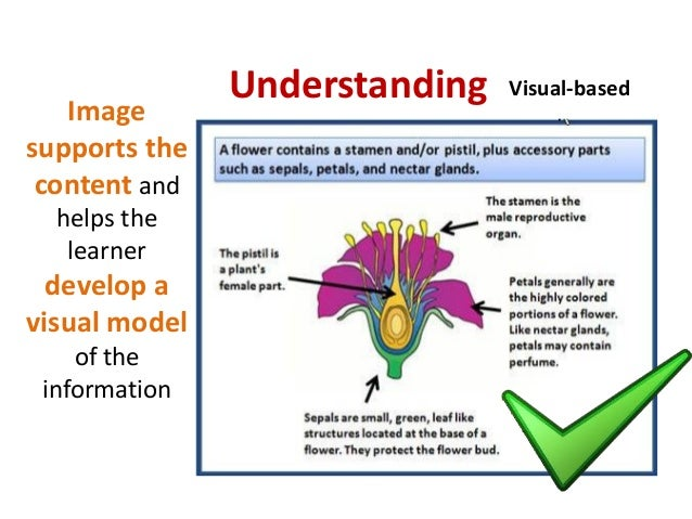 UnderstandingImagesupports thecontent andhelps thelearnerdevelop avisual modelof theinformationVisual-based