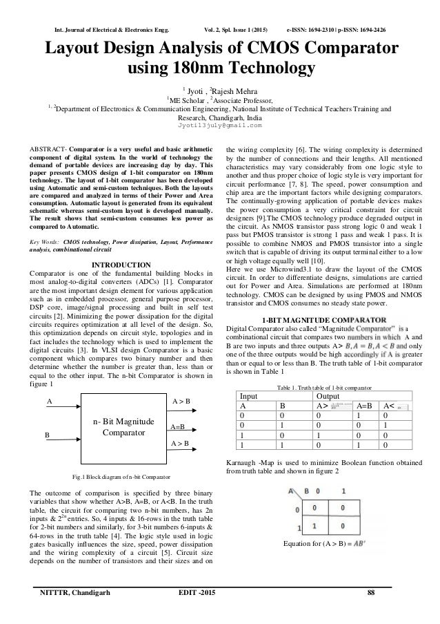 Layout Design Analysis of CMOS Comparator using 180nm