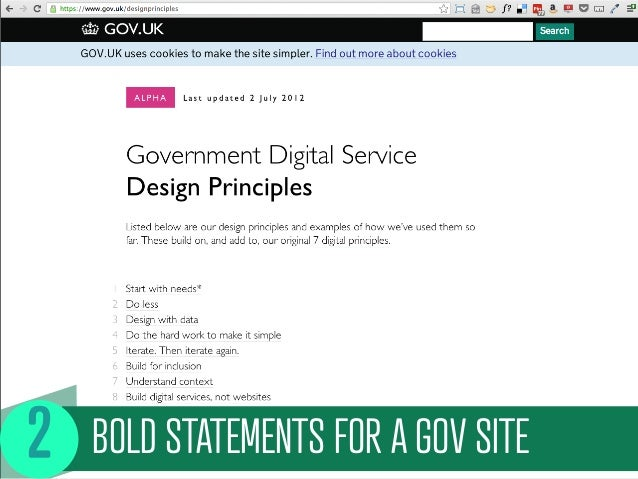 BOLD STATEMENTS FOR A GOV SITE