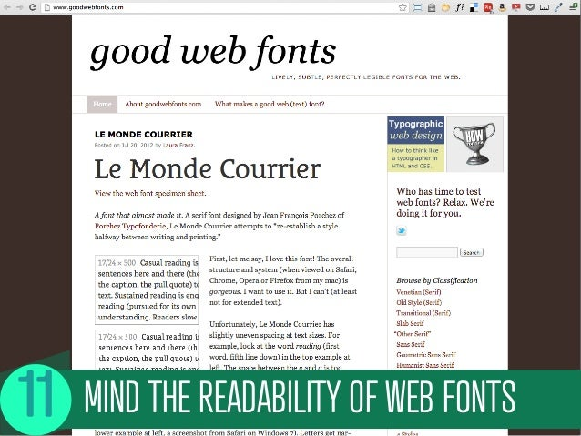 MIND THE READABILITY OF WEB FONTS