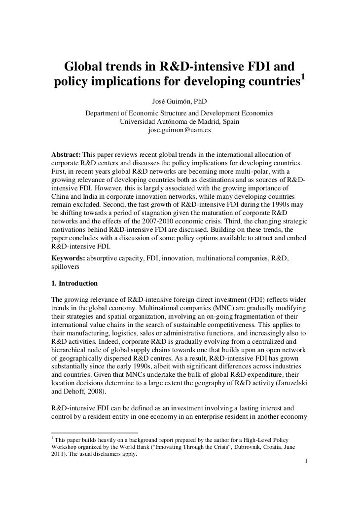 Global trends in R&D-intensive FDI and    policy implications for developing countries1                                   ...