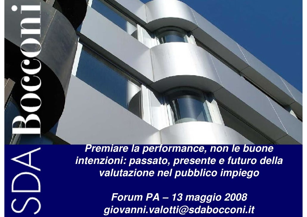 Premiare la performance, non le buone intenzioni: passato, presente e futuro della      valutazione nel pubblico impiego  ...