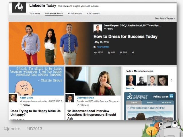 LinkedIn Today@jennita #ID2013