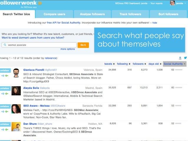 Followerwonk@jennita #ID2013Search what people sayabout themselves