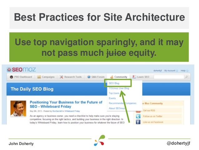 Best Practices for Site Architecture@dohertyjfJohn DohertyUse top navigation sparingly, and it maynot pass much juice equi...