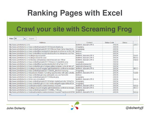 Ranking Pages with Excel@dohertyjfJohn DohertyCrawl your site with Screaming Frog