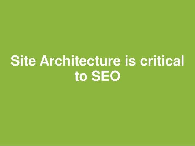 Site Architecture is criticalto SEO