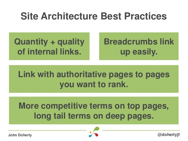 Site Architecture Best Practices@dohertyjfJohn DohertyQuantity + qualityof internal links.Link with authoritative pages to...