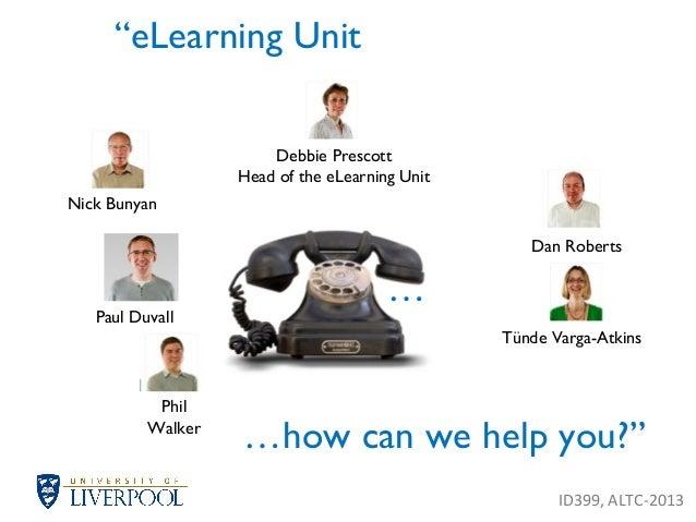 """eLearning Unit Debbie Prescott Head of the eLearning Unit Nick Bunyan Phil Walker Dan Roberts Tünde Varga-Atkins …how can..."