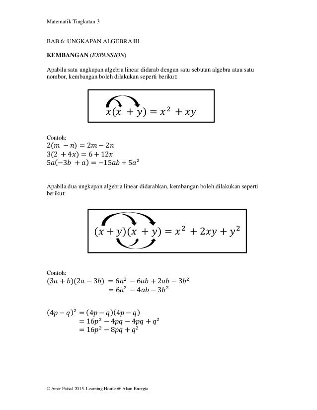 Matematik Tingkatan 3 © Amir Faisal 2015. Learning House @ Alam Energia BAB 6: UNGKAPAN ALGEBRA III KEMBANGAN (EXPANSION) ...