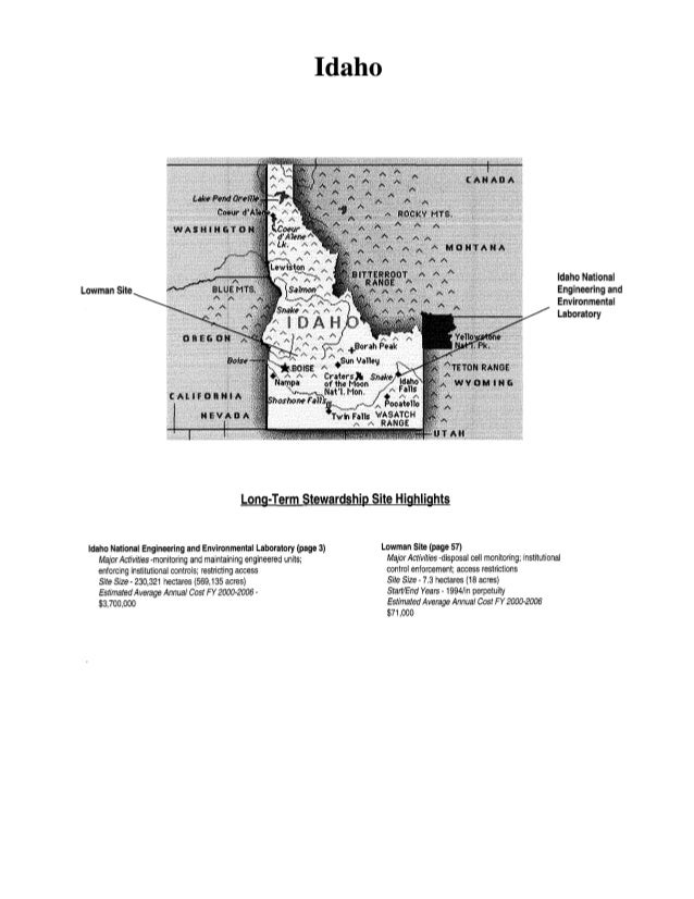 Idaho  Idaho National Engineering and Environmental Laboratory  Lowman  Long-Term Stewardship Site Highlights  Idaho Natio...