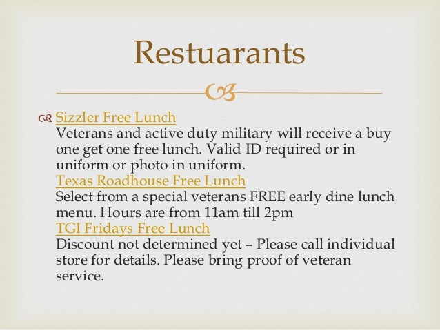 Idaho veterans appreciation 2013 for Does olive garden give military discount